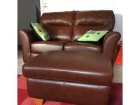 GPlan Two Seater leather sofa and foot stool, brown leather. Good condition