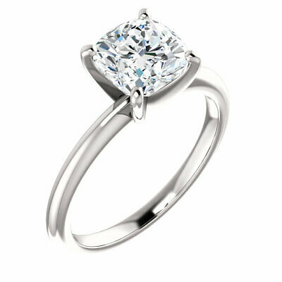 Charming 1.50 Ctw Cushion Cut Diamond Engagement Ring 18K White Gold H VS2 GIA 2