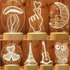 3D Cartoon LED Lights Kids Baby Children Bedroom Lamp decor