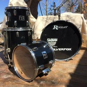 Vintage Rogers drums, solid maple and chrome, made in USA