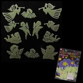 12 PACKS OF GLOW IN DARK ANGELS & CHERUBS