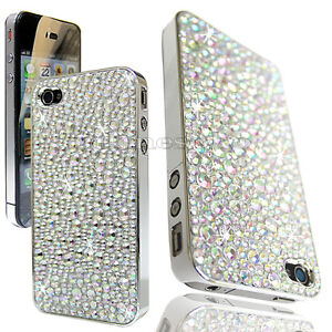 FOR APPLE iPHONE 4 4G 4S SILVER CHROME CRYSTAL DIAMOND BLING CASE DIAMONTE COVER