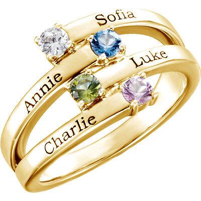10K or 14K Solid Gold Mother's Ring 1 to 4 Birthstones Children's Names Engraved 10k Gold Engraved Mothers Ring