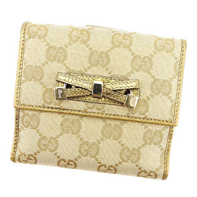 Auth GUCCI Double Sided Wallet GG Canvas Ladies used T3017