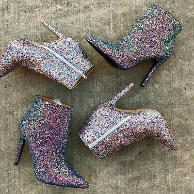 Qupid Pointy Glitter Heel Sparkly Ankle Boots Booties #Milia-109 - Glitter Boots