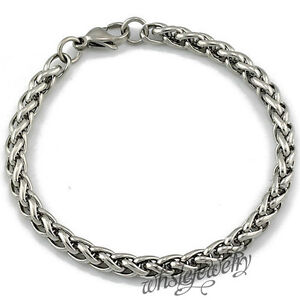 Men Women Ladies 316L Stainless Steel Wheat Chain Bracelet Anklet 5/6/7mm 6-9.5