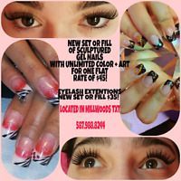 Gel nails, eyelash extentions, hair extensions, waxing services
