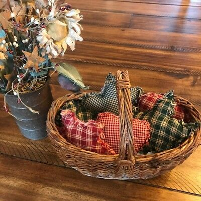 New Homespun Plaid Ornies Bowl Fillers Rag PrImITive Hearts Green Red Stars xmas