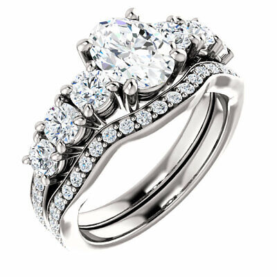 1.60 ct GIA D SI1 0.50 carat Oval Shape Diamond Engagement 14K White Gold Ring 5