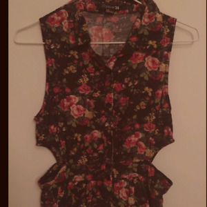 Forever 21 Floral print fit/flare with cut outs