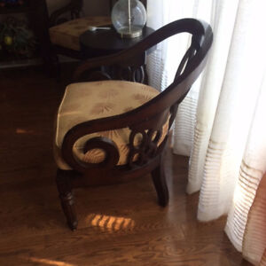 Pair of Carved Wood Accent Chaird