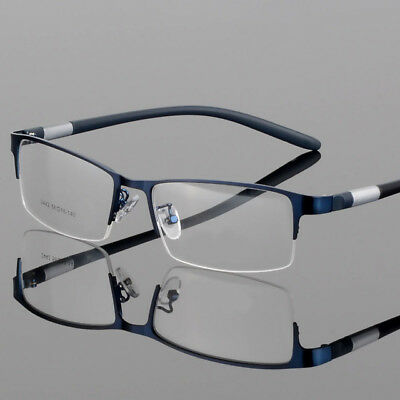 (Men Alloy Optical Glasses Semi-Rimless Myopia TR Eyeglass Frames For business RX)