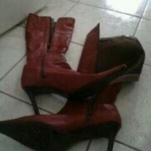 Leather RED...Roberto Vianni Boots and Aldo