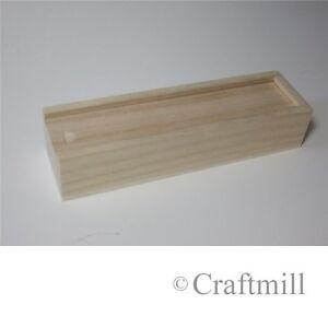 Plain wooden sliding lid pencil domino case box traditional school (WBM0007)