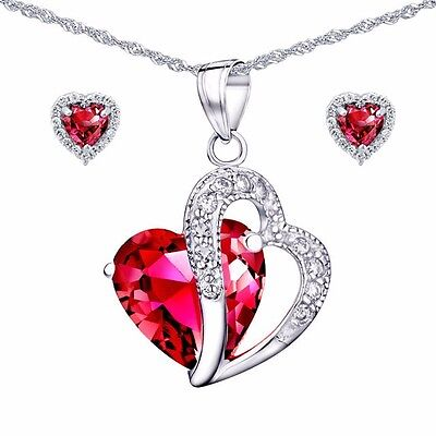 "Created Red Ruby Pendant Necklace Earring Set 925 Sterling Silver w/ 18"" Chain"