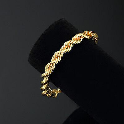 Bracelet - Mens 14K Yellow Gold Plated 8in Rope Link Bracelet 4 MM