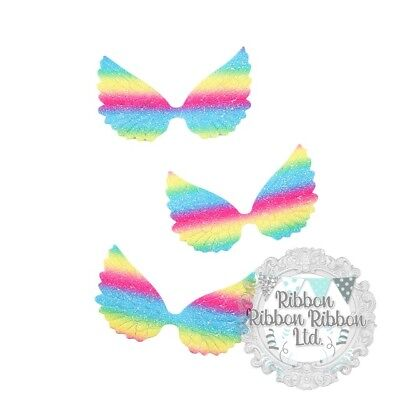 Wings x 10 Crafts Bows UK Based Free Uk Shipping (Rainbow Angel Wings)