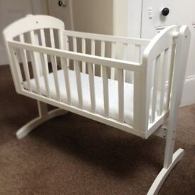 MAMAS AND PAPAS 'BREEZE' CRIB; white baby crib and white, fitted mattress