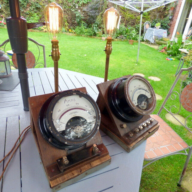 A PAIR OF INDUSTRIAL TABLE LAMPS