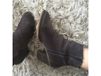 Superdry suede heeled boots size 7