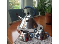 Alessi - Blue Bird Whistle Hob Kettle with matching cream jug and sugar bowl