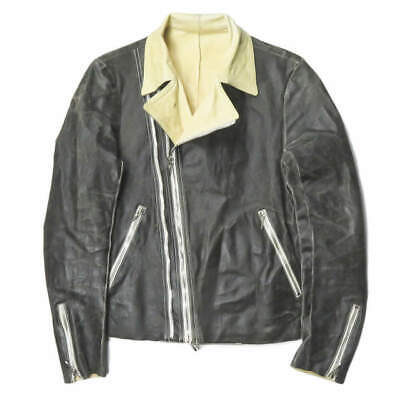 incarnation Vegetable Tanning Horse Leather Double Riders Jacket S Black leather