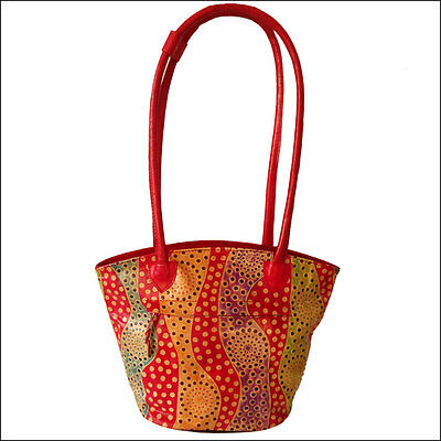 Handmade India Shantiniketan  Real Leather Boho Tote Bag Red Polka Dots Summer