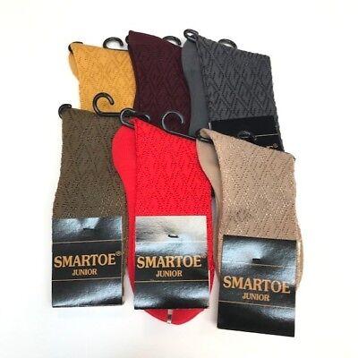 Boys Dress Socks Smartoe Junior One Size Fits 6 - 8.5 100% Nylon Assorted Colors