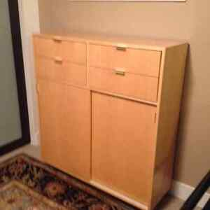 matching entertainment unit and book storage unit