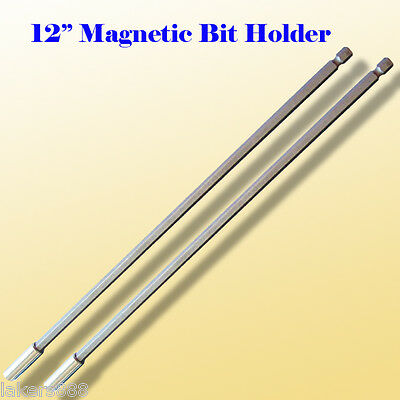 "Pack of 2  12"" Magnetic Bit Extension Holder Quick Change 1/4"" Hex Shank"