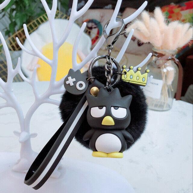 Cute 3D Badtz Maru Keychain Key Chain Pom Pom Fur Ball Keyring Charm Nice Gift