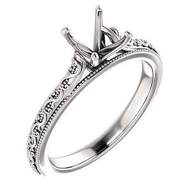 (14k White Gold Semi Mount wedding Solitaire Round Diamond Vintage Miligrain Ring)