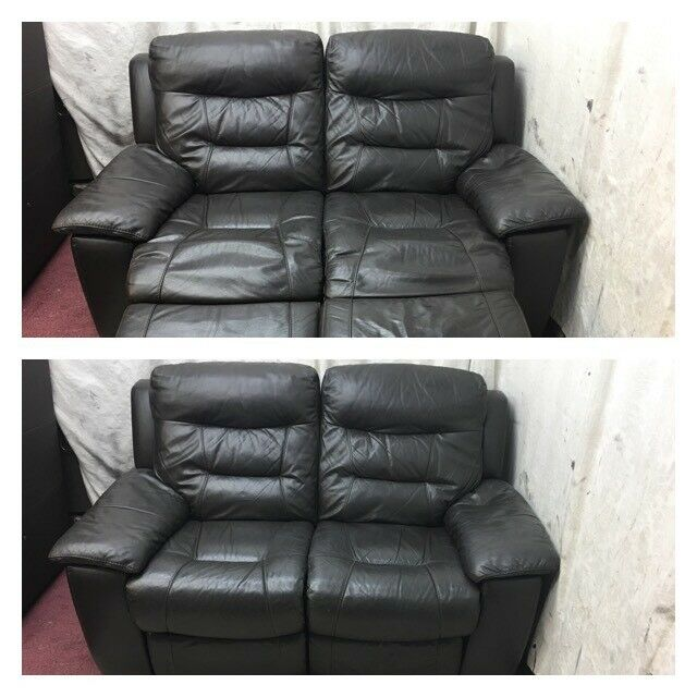 Brown leather 2 Seater manual recliner sofa