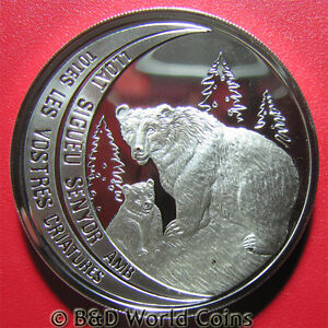 ANDORRA-1992-10-DINERS-93oz-SILVER-PROOF-BROWN-BEAR-AND-CUB-WILDLIFE-RARE-39mm