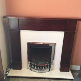 Free standing solid Mahogany fireplace