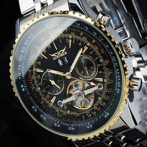 $27.00 - Jaragar Luxury Stainless Steel Tourbillon Automatic Men's Watch -USA SHIPPING-