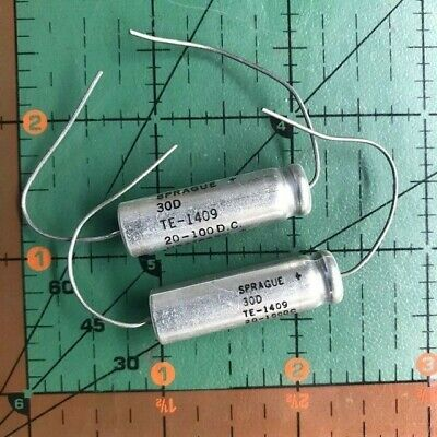 20uf 100v Sprague Axial Electrolytic Capacitor Te1409 30d 105c Audio 4pcs