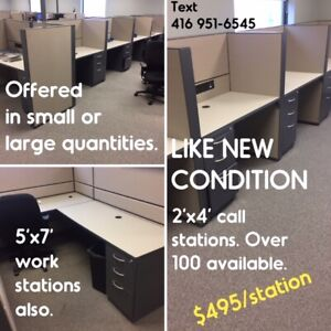 "CALL CENTRE STATIONS, LIKE NEW, 6'X6"" ""L"" CUBICLES, ALL LIKE NEW"