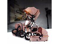Luxury Baby Stroller 3 in 1 High view travel Pram folding pushchair & Car Seat
