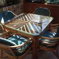 Rattan Dinette Set with Glass Top