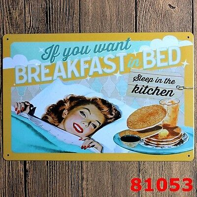 Metal Tin Sign breakfast in bed Bar Pub Home Vintage Retro Poster Cafe ART