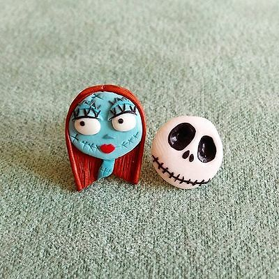 Handmade Nightmare Before Christmas Sally and Jack the Skeleton Earrings Jewelry