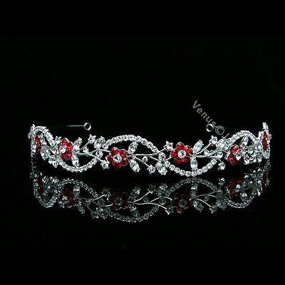 Apple Red Bridal Flower Rhinestones Crystal Wedding Tiara Headband 7558 - Red Tiaras