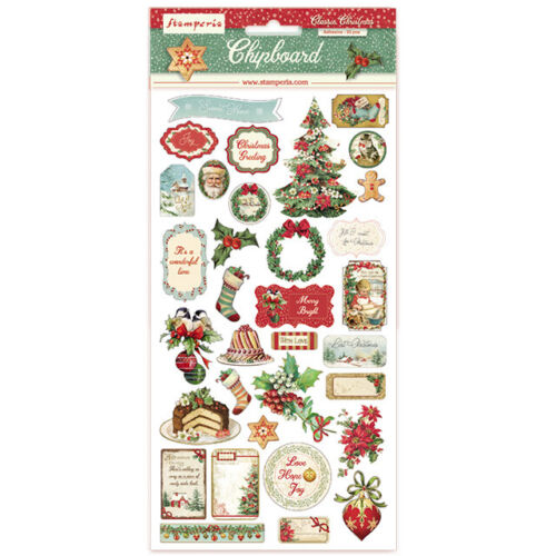 """Stamperia CLASSIC CHRISTMAS Chipboard 6X12"""" 33 Pieces #DFLCB05"""