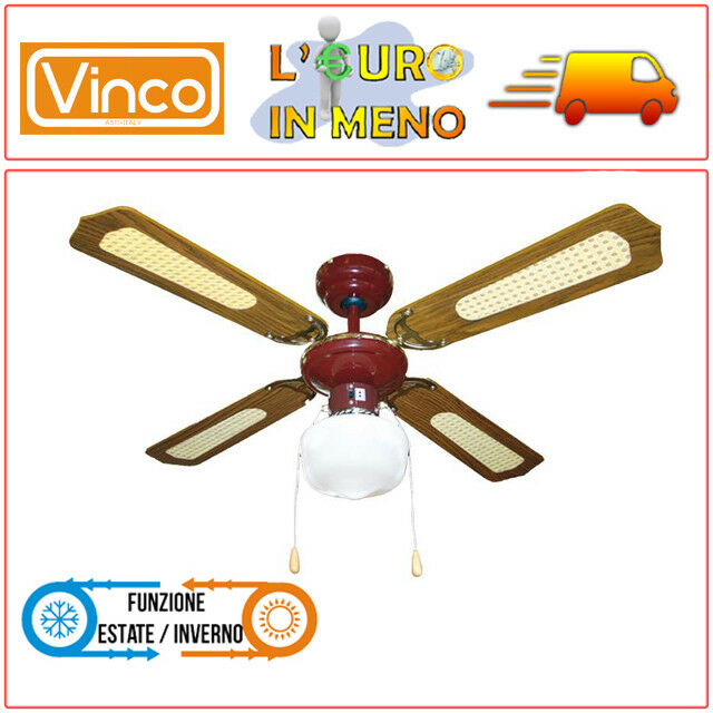 VENTILATORE DA SOFFITTO VINCO 70919 MARRONE CON LUCE 4 PALE 55 WATT 3 VELOCITA'