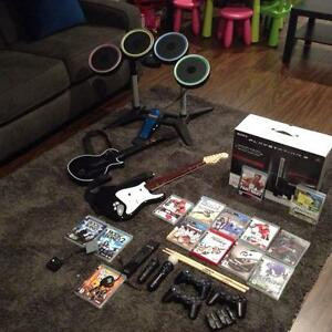 PS3 PlayStation 3 Bundle! Console, Remotes, Rock Band, Guitar...