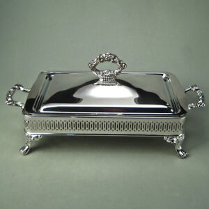 Oneida silver plated rectangular server with Lid and Pyrex dish
