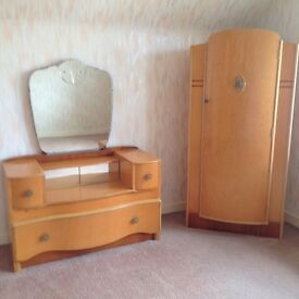 Retro/vintage bedroom furniture/wardrobes and dressing table