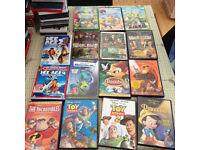 selection of 15 kids disney dvds