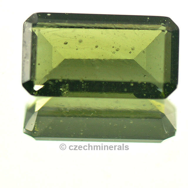 2.61cts rectangle 7x13mm moldavite faceted cutted gem BRUS644